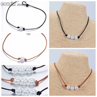 Wholesale New Arrivals Hot sale Pearl Leather Choker Many styles Simulated Pearl Handmade leather Necklace DIY Leather Choker