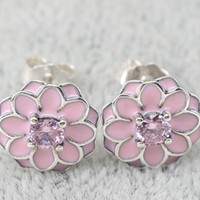 Wholesale PD One Pair Earrings for Pandora Jewelry Christmas Gift pink enamel flower crystal retro Stud Earrings Sterling Silver Charm Earring