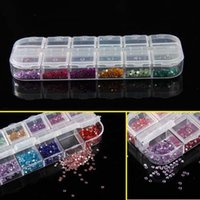 Wholesale 12 Colors Round Mixed Nail Art Tips Rhinestone mm Nail Glitter w Case Manicure