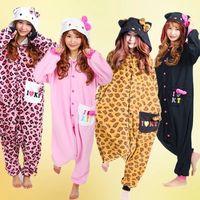 Unisex adult leopard onesie - New Unisex Men Women Adult Pajamas hello kitty Leopard Cosplay Costume Animal cat Onesie Sleepwear