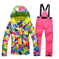 Wholesale new High Quality ski suit women jacket pants clothes Ladies ski jacket Sports Waterproof Windproof Breathable
