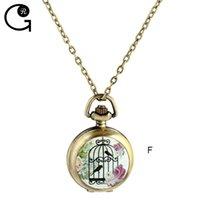 battery cages - GR Bronze Birdcage Bird Cage Flower Quartz Movement Pocket Watch Pendant Necklace New Free with Batteries
