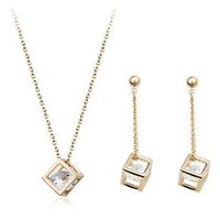 Wholesale Cube inside CZ Diamond Crystals K Gold Plated Drop Earrings and Pendant Necklace Fashion Bride Wedding Jewelry Set