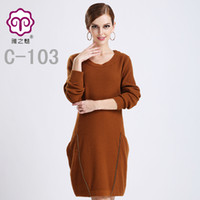 Wholesale Big yards cashmere sweaters women s casual dress personality and long sections cashmere sweaters round neck long sleeved loose hedging pure