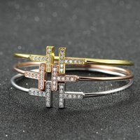 Wholesale New Arrival Double t type bracelet openings high quality t letters home accessories girls Rose Gold Silver Hand ring