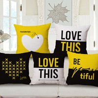 love chair - yellow and black love cushion cover english letters cojines heart almofada modern decoration for sofa chair bed couch in home and office