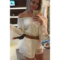 belt with fringe - Sexy White Fringes Short Jumpsuit Palysuit With Belt Slash Neck Bell Full Sleeve Beach Playsuits Rompers Club Wear ZSJF0302