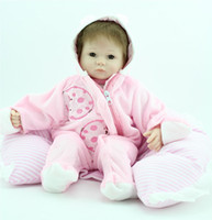 adorable doll clothes - 18 quot cm reborn baby doll soft silicone vinyl Girl dolls Pink cute clothes open close eyes handmade lifelike Adorable toys gift
