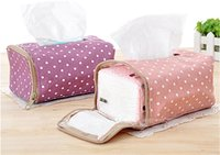 Wholesale 160pcs Hot Sale Tissue Boxes Napkin Bag Fabric Cloth Polka Dot Creative Tissue Drawing Zipper Pouch jy230