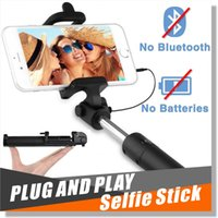 Wholesale Selfie stick pro Minisuit folding Monopod with built in W Wired shutter for apple android Battery Free with Adjustable Phone Holder