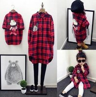 Wholesale 2016 New Autumn Kids Girl Red Grid Mickey Printing Long Shirt Cotton Size Girls Lovely Cartoon Shirt E0034