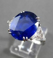 antique sapphire ring white gold - ANTIQUE PLATINUM CT DIAMOND AAA SAPPHIRE STONE OVAL ENGAGEMENT RING E F