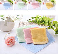 bamboo towels - Soft Bamboo Fibre Towel x25cm Small Wipes Organic Baby Flannel Face Hand Embroidered Washcloth Color Random