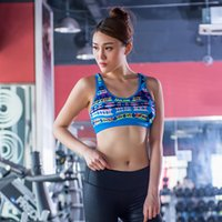 Wholesale Women Printed Sports Bra Removable Padded Top Athletic Vest Push Up Running underwear Fitness Gym Yoga Shirts Two Color