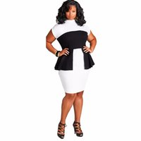 best work dresses - Summer Casual Elegant Office Dress Plus Size L XL XXL XXXL Black White Patchwork Elasticity Midi Dress Best For Women Work Dress