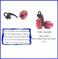 Wholesale GPS Aluminum Grenade Design Car Motorcycle Bike Tire Tyre Valve Dust Caps Colors