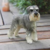 Británico Schnauzer Simulación Figurilla de perros Artesanías muñecas de juguete Brillante Decoración Tallada Decoración Artesanía con resina para la decoración de la habitación