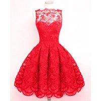 Wholesale new style Selling lace collar sleeveless lace dress rackabilly dress black and red S XL