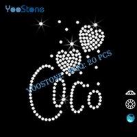 Wholesale China Low Price Custom Coco Love Hearts Rhinestone Heat Transfers For Girls t Shirts