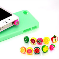 Cheap Wholesale-DHL FEDEX free shipping kpop cute rainbow fruits ear Jack anti dust plug for cell phone fashion 2016 polymer clay earphone cap