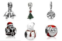 Wholesale Christmas Gift Pendants Charms Bead Silver Charms Pendant Big Hole Beads Fit European Charm Pandora Bracelet Jewelry DIY