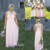 Wholesale Pale Pink New Sheer Crew Lace Neck Cheap Chiffon Bridesmaid Dress Illusion Back Country Style Maternity Long Maid Of Honor Dresses