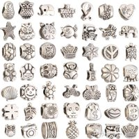Wholesale Mix Style silver plated Big Hole Loose Beads metals charms For Pandora DIY Jewelry Bracelet For European charms Bracelet Necklace