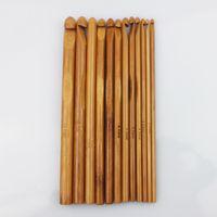 bamboo knitting needles free shipping - Sizes Carbonized Bamboo Handle Crochet Hooks Knit Weave Yarn Craft Knitting Needle