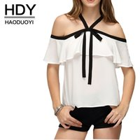 Wholesale HDY Apparel Halter Slash Neck Frill Blouse White Chiffon Off Shoulder Bow Patchwork Shirt Cute Preppy Style Tops Women Clothes