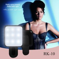 Wholesale RK10 RK Mini Portable Night Artifact Leds LED Selfie Flash Light Mobile Phone Flash Light Mini Selfie Sync Flashlight For Phone Android