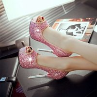 Wholesale Spring and summer fashion new fish mouth sandals sequins bride shoes heel sexy bridesmaid waterproof club for women s shoes