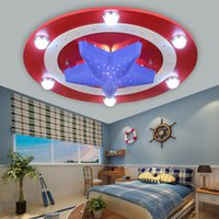 art styles lanterns - Captain America creative LED children room light absorb dome light cartoon boy eyecare bedroom Captain style lamp and lanterns of lamps