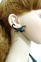 Wholesale Scorpion Stud Earrings - Fashion Punk Black Scorpion Acrylic Women Stud Earrings Personality Night Club Hip Hop Jewelry Accessories Wholesale