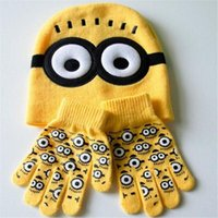 Wholesale Fashion Minions Small Yellow People Knit Caps Gloves New Cartoon Winter Knitted Kids Hats Gloves Children Christmas Gift