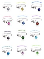 Wholesale New Birthstone Crystal Pendant of Months Birthstone Alex and Ani Charm Wiring Bracelet expandable bangles