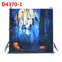 Wholesale 1 m Photography Background Backdrop Digital Printing Hallowmas Halloween Pumpkin Graveyard Bat Pattern for Photo Studio D4370
