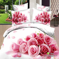 bedclothes blankets - New Pink purple flower d bedding set cotton home wedding love bedspread bedclothes duvet cover blanket cover set