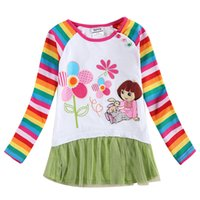 Wholesale gril long rainbow sleeve t shirt with lovely girl and flower
