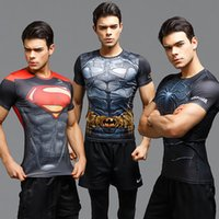 Wholesale Superman tshirt with short sleeves Plus Size D Pattern Summer For Men Polyester Sport Tight Spiderman Batman Compression Shirt Gym Clothes