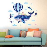 baby playroom - Hot air balloon with whale Wall Decals Set Kids vinyl Wall Sticker Removable Nursery Baby Bedroom Playroom Decor Wall Stickers