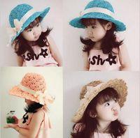 beach ball candy - 2016 Korean Spring summer Ribbon Handmade Candy colors Children straw hat baby girls Beach Hats foldable kids sun hat