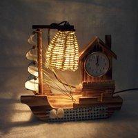Wholesale Interior Decoration wooden sailboat lamp clock gift
