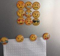 Wholesale Newest QQ Expression Emoji Fridge Magnet Cute Cartoon Fashion Crystal Glass Fridge Magnets Funny Refrigerator Toy K7853