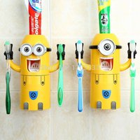 Wholesale 2016 New Listing Minions Toothbrush Holder Automatic Toothpaste Minion Dispenser With Brush Cup Bathroom Set
