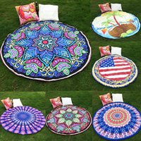 Wholesale 18 Style Fashion Round Beach Shawls Summer Polyster Printed Bohemian Beach Tablecloth Sarongs Towel Yoga Mat Cushion HH C02