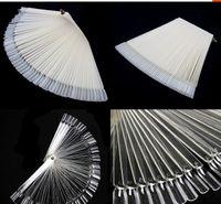venda por atacado unhas postiças-50pcs / lot vendendo quentes Unhas Ferramentas Transparente Branco Falso Nail Art Tips Varas de exibição polaca Fan Prática Board Ferramenta