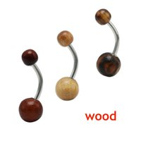 Wholesale 36pcs fashion wooden belly button rings stainless steel natural wood piercing navel jewelry ombligo body pircing