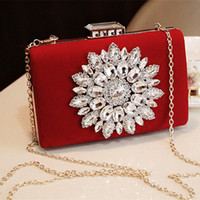 bags and accessories - Bridal Handbag Red And Black Party Bag Wedding Hand Bags Crystal Velour Bag With Metal Train Clutches Brides Accessories Cellphone Bags