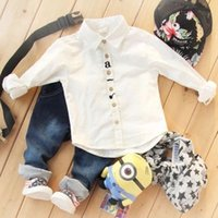 Wholesale The boy cotton long sleeve shirt cowboy trousers two suits