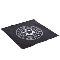 altar cloth - 1pc Altar Tarot Tablecloth Retro Hexagram Pattern Decor Divination CARDS Square Wicca Canvas Black Table Cloth